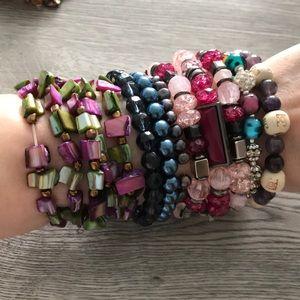 9 summer mermaid bead bracelet bundle lot